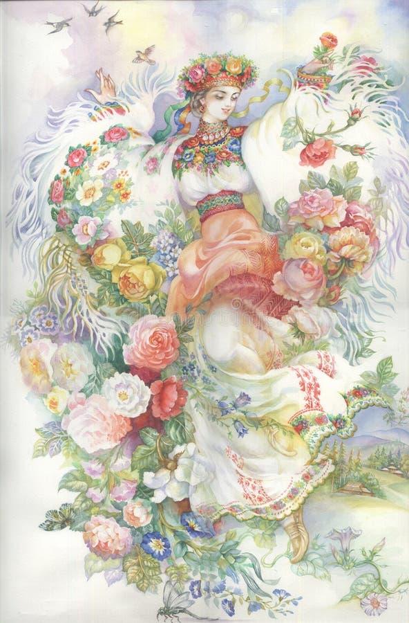 Menina no traje tradicional. Gutsulka. ilustração do vetor