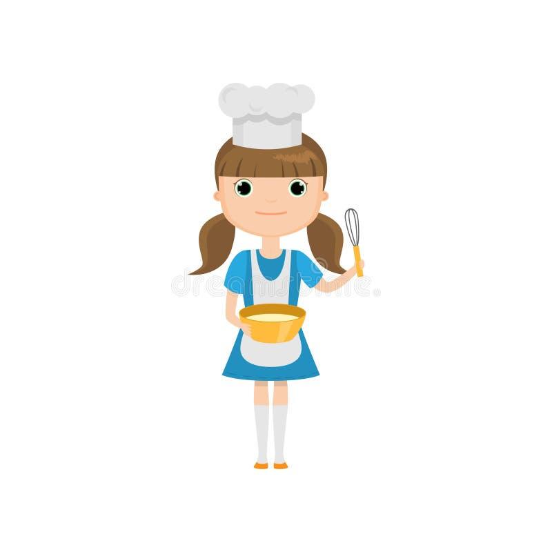 Menina no uniforme do cozinheiro que mantém utensílios isolados contra o fundo branco ilustração royalty free