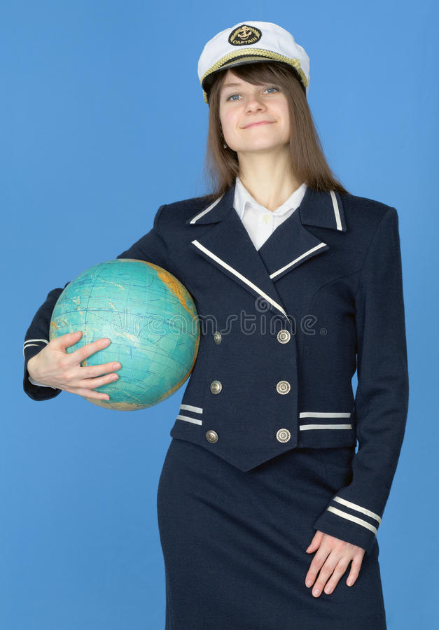 Menina no uniforme do mar com globo fotos de stock royalty free