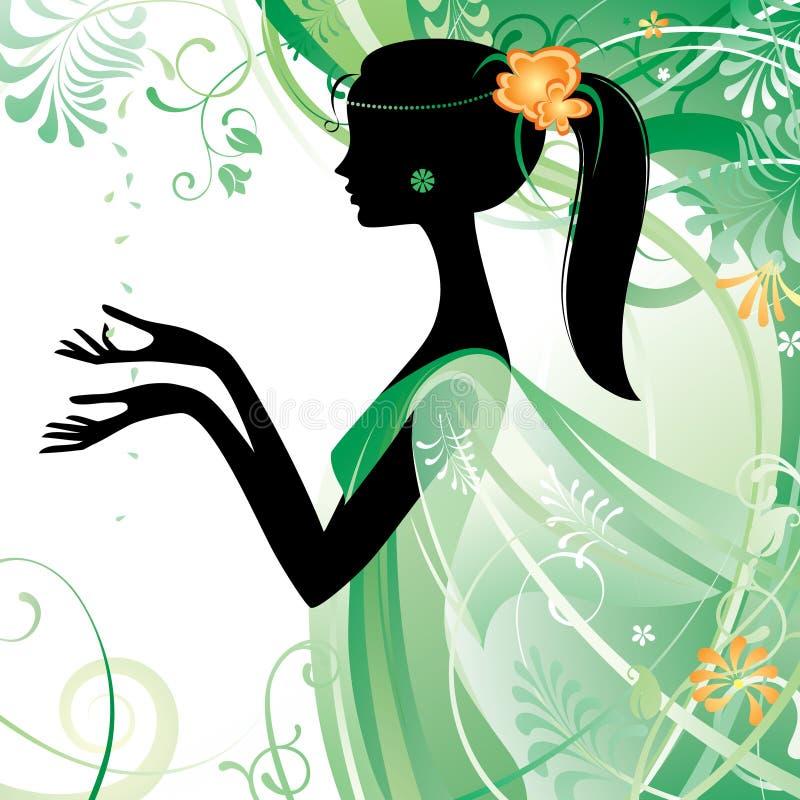 Menina no verde ilustração royalty free