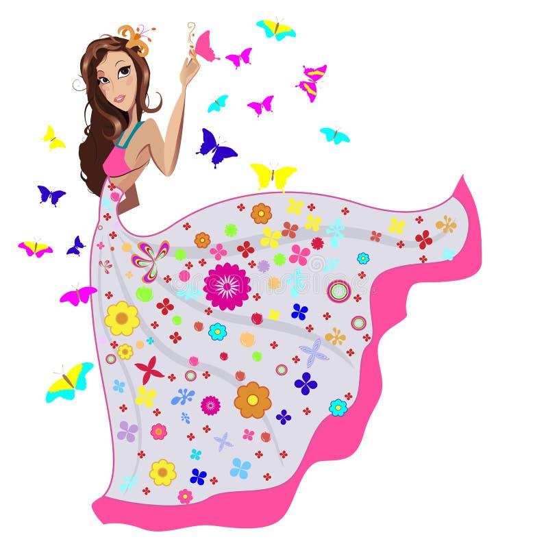 Menina no vestido ilustração stock