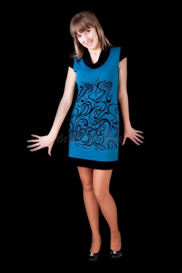 Menina no vestido azul foto de stock