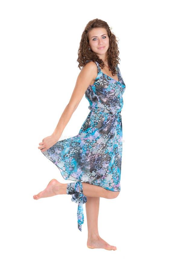 Menina no vestido azul imagem de stock