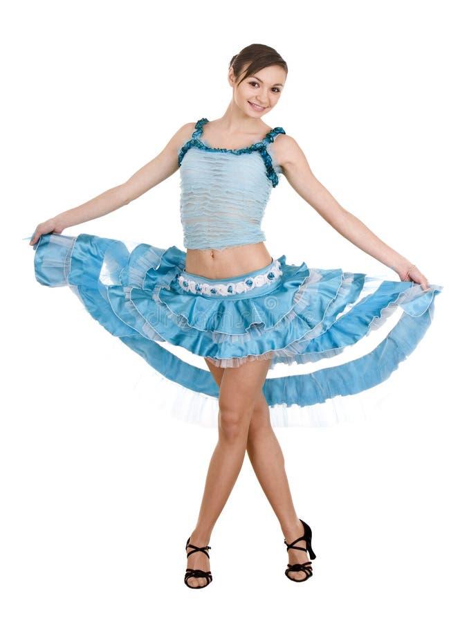 Menina no vestido azul da esfera. fotografia de stock
