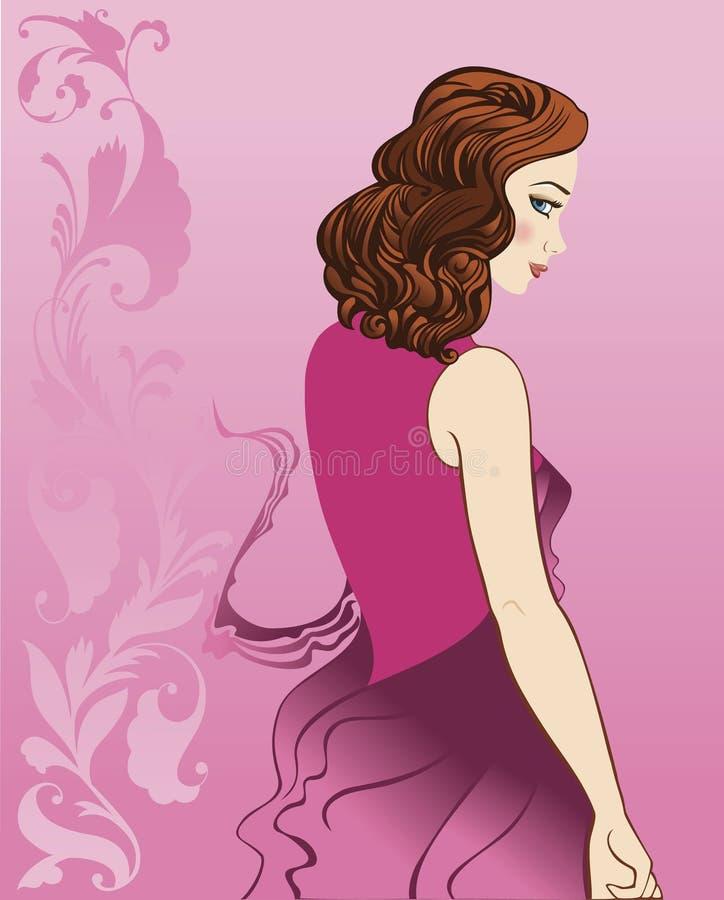 Menina no vestido cor-de-rosa ilustração royalty free