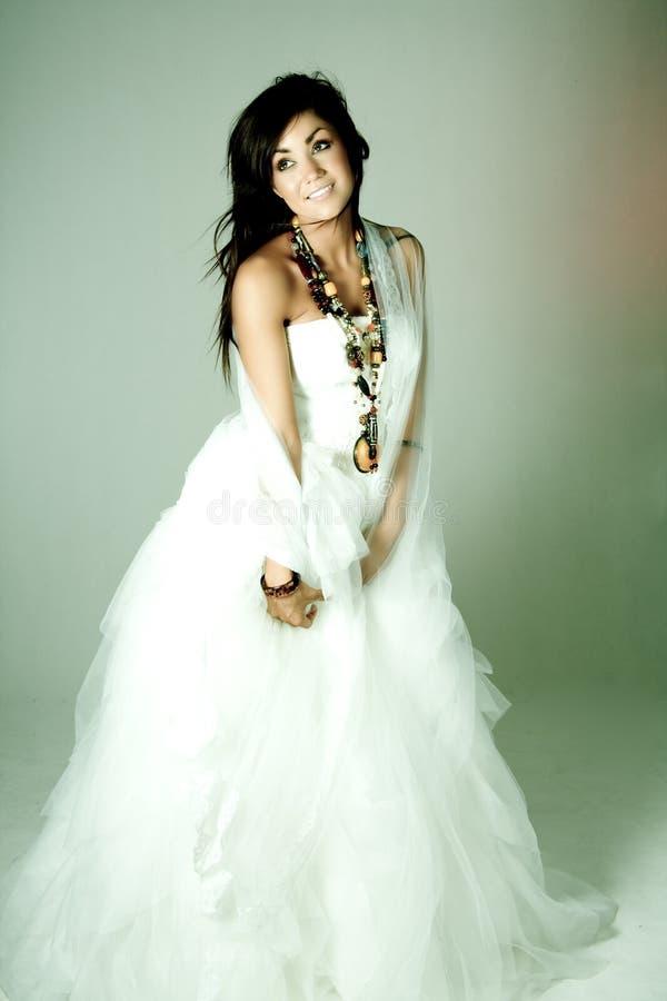 Menina no vestido de casamento imagens de stock