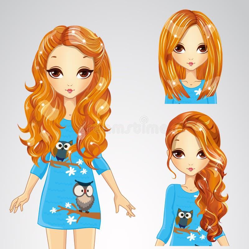 Menina no vestido e na coleção azuis dos penteados ilustração do vetor