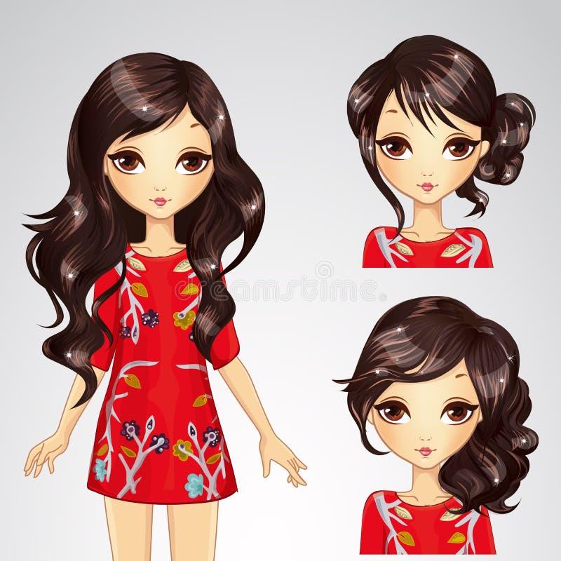 Menina no vestido e na coleção vermelhos do penteado ilustração stock