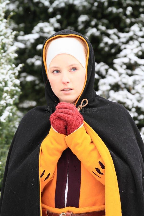 Menina no vestido histórico imagens de stock royalty free