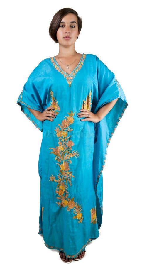 Menina no vestido indiano azul imagens de stock royalty free