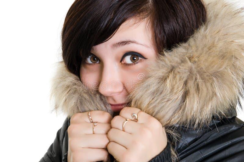 Menina no vestido para o inverno imagens de stock
