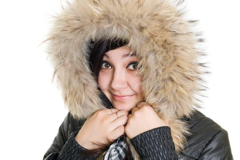 Menina no vestido para o inverno imagens de stock royalty free