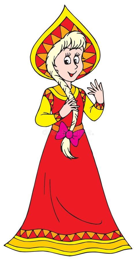 Menina no vestido tradicional ilustração royalty free