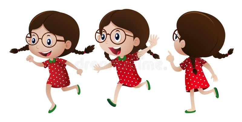 Menina no vestido vermelho com cara feliz ilustração do vetor