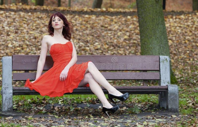 Menina no vestido vermelho elegante que senta-se no banco no parque outonal imagens de stock