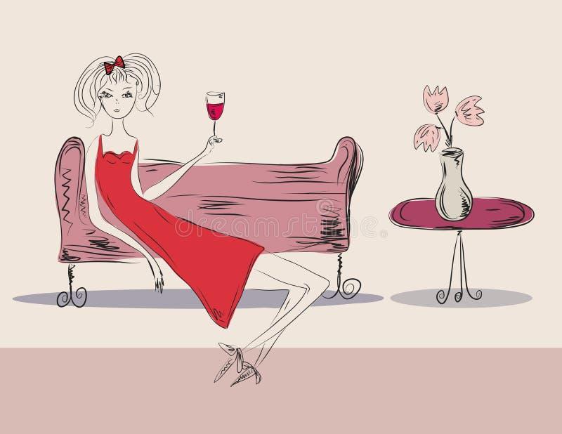 Menina no vestido vermelho no partido ilustração royalty free