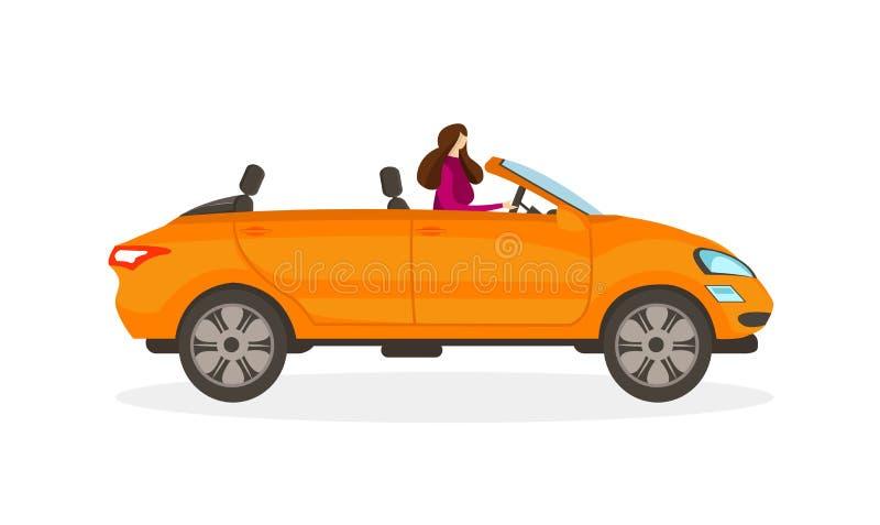 Menina no vestido vermelho que conduz o carro convertível alaranjado ilustração royalty free
