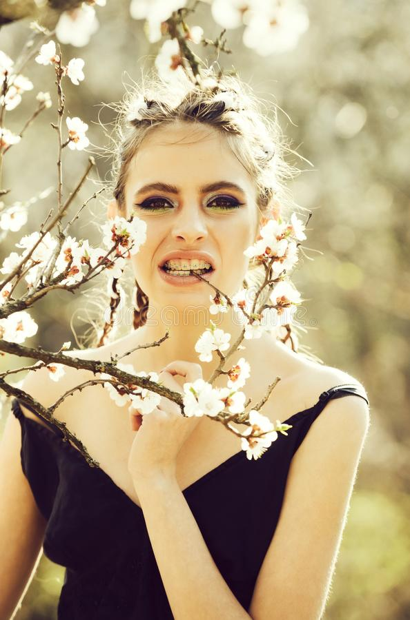 A menina nos dentes apoia comer a florescência branca da flor da mola da cereja imagens de stock royalty free