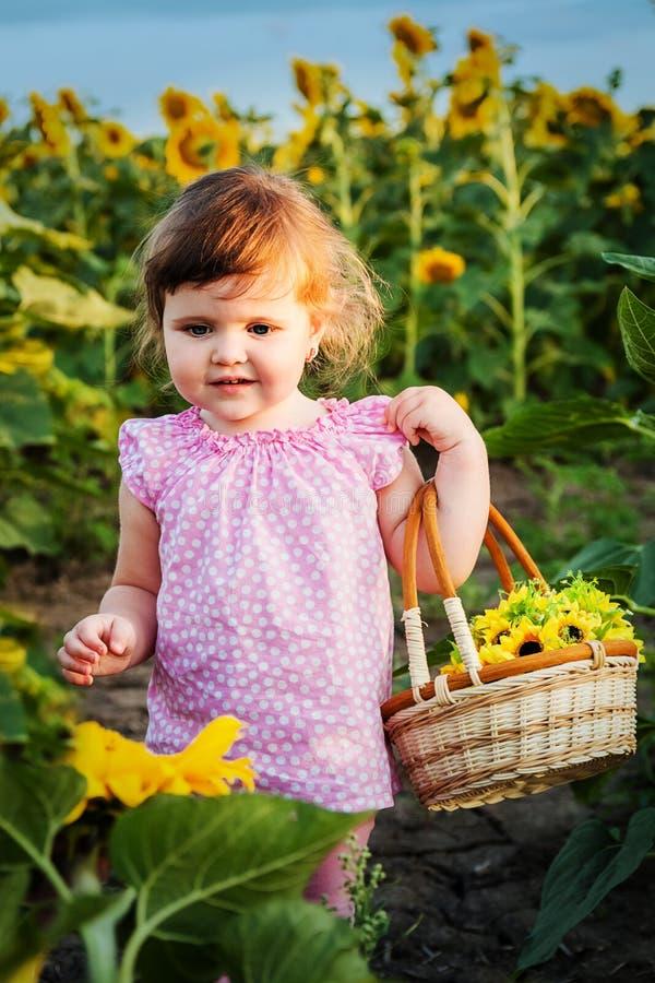 A menina nos girassóis fotografia de stock