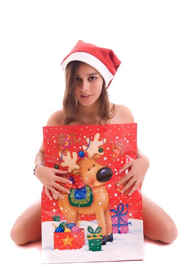 Menina nova de Santa fotos de stock