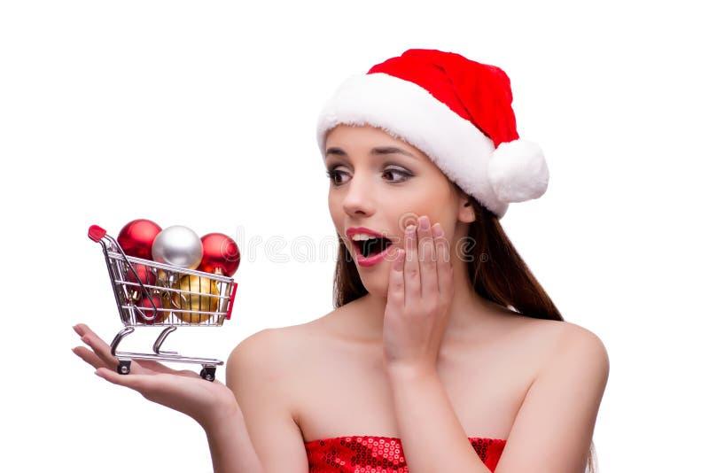 A menina nova de Santa no conceito do Natal isolada no branco imagens de stock