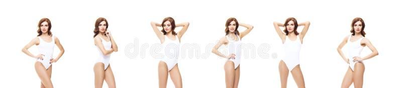 Menina nova, desportiva e apta no roupa interior branco Backgrou isolado fotografia de stock