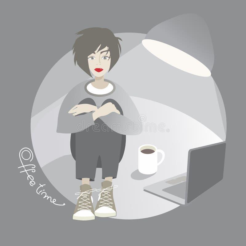 Menina nova do moderno com xícara de café e portátil Ilustração dos desenhos animados ilustração do vetor