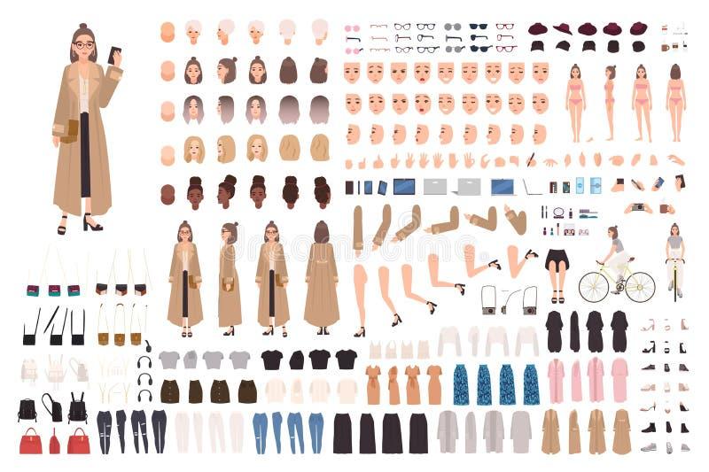 Menina nova do moderno no grupo da criação do revestimento de trincheira ou no jogo de DIY Ajuste das partes do corpo, roupa à mo ilustração stock