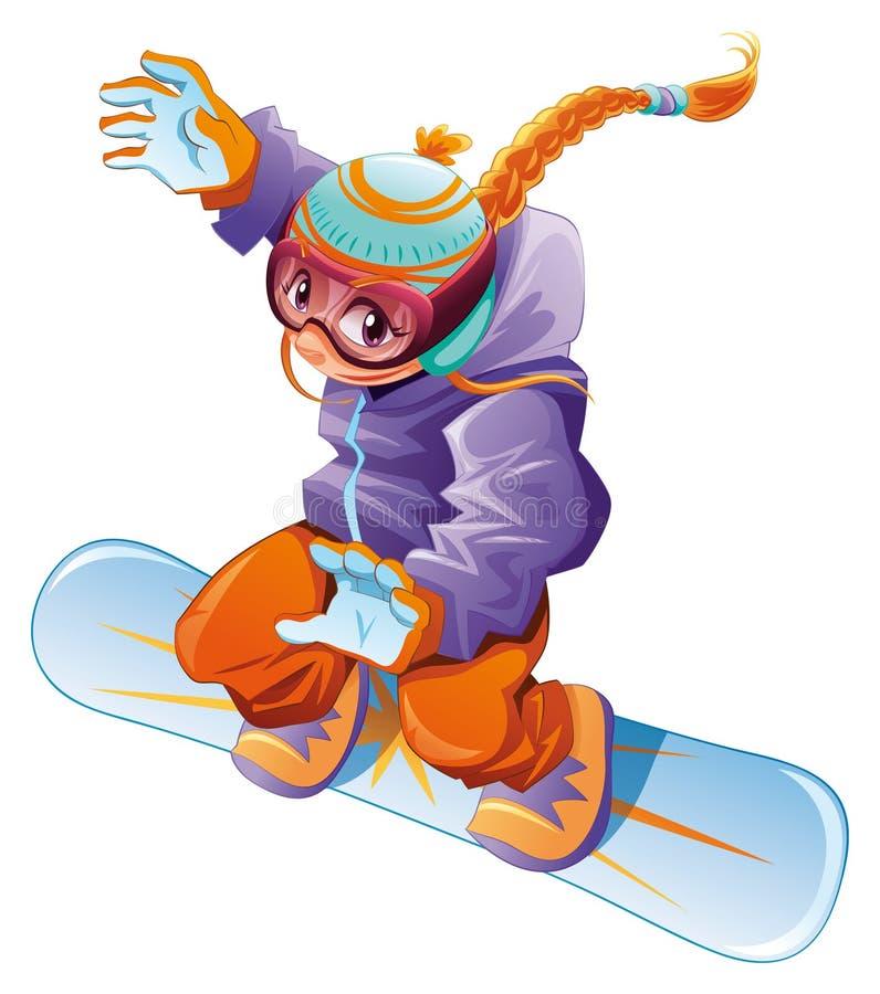 Menina nova do snowboarder. ilustração stock