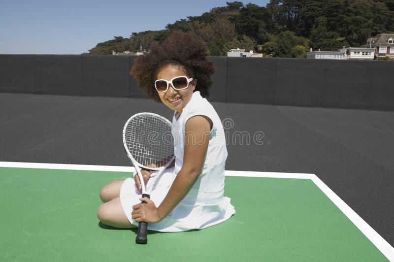 Menina nova do tênis imagens de stock