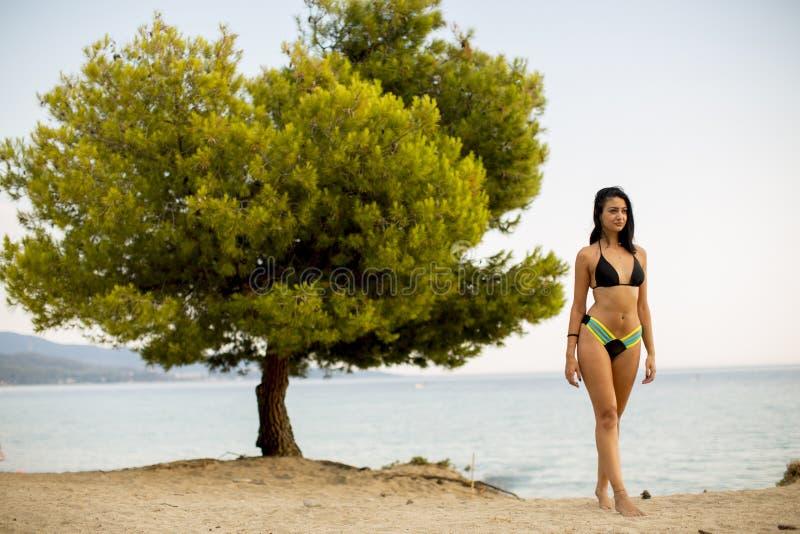 Menina nova e desportiva que levanta em uma praia no verão imagem de stock royalty free