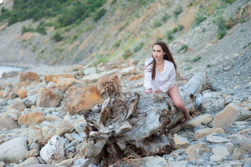 Menina nova 'sexy' da hippie ao estilo do chique do boho que levanta em uma árvore seca enorme no fundo das rochas imagem de stock royalty free