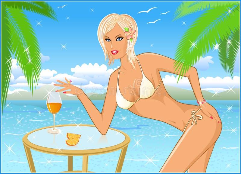 Menina o blonde na praia ilustração do vetor