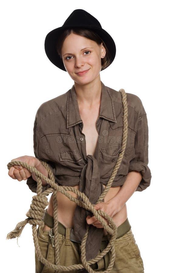 A menina o cowboy fotos de stock