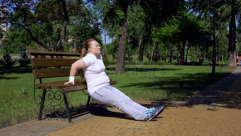 A menina obeso que exercita no banco no parque, aplicação, ostenta disponível em todo o lugar foto de stock