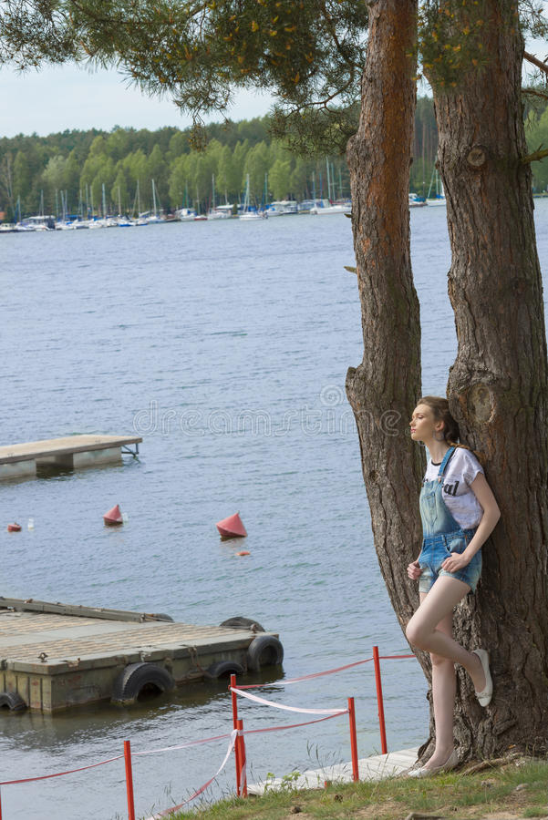Menina ocasional inclinada na árvore fotografia de stock royalty free