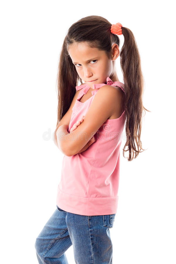 Menina ofendida no vestido cor-de-rosa fotografia de stock