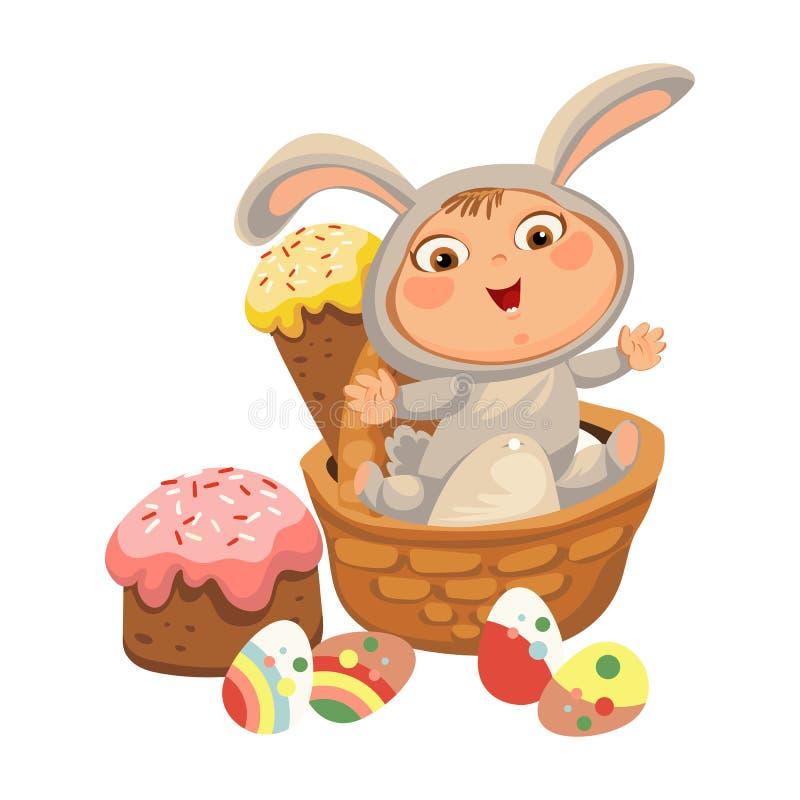 A menina ou o menino que caçam o ovo de chocolate decorativo, bebê feliz sentam-se em uma cesta, no traje do coelhinho da Páscoa  ilustração royalty free