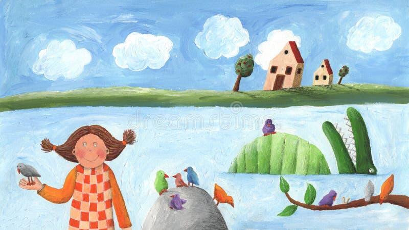 Menina, pássaro e crocodilo ilustração royalty free