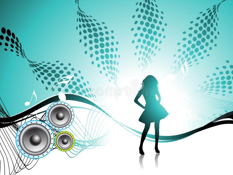 Menina. Partido do disco. ilustração stock