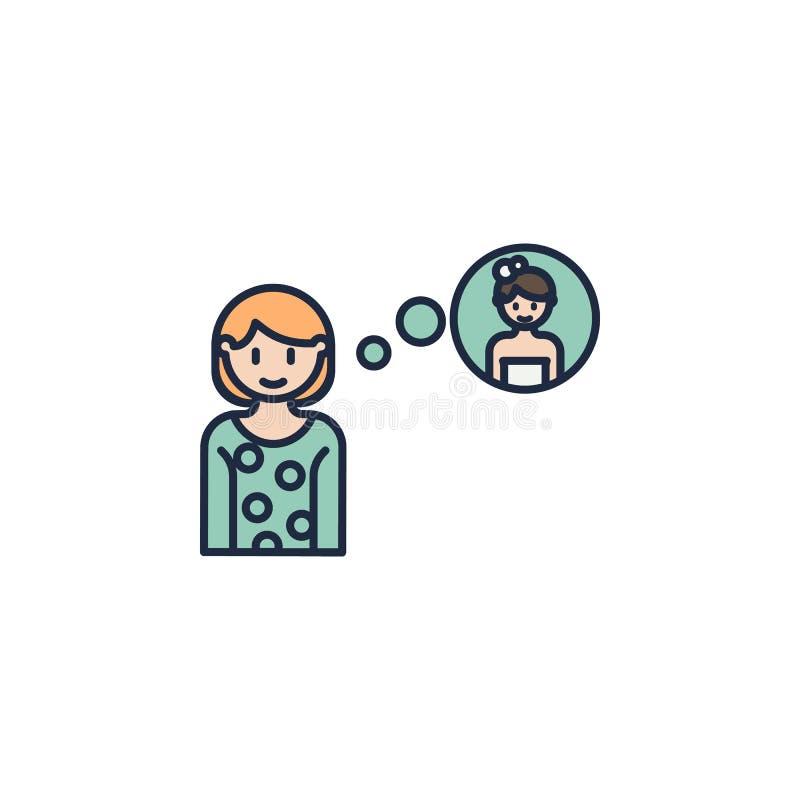 a menina pensa sobre o ícone colorido casamento Elemento do ícone da família para apps móveis do conceito e da Web A menina color ilustração stock
