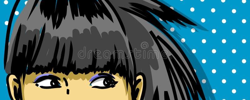 Olhos retros da menina ilustração royalty free