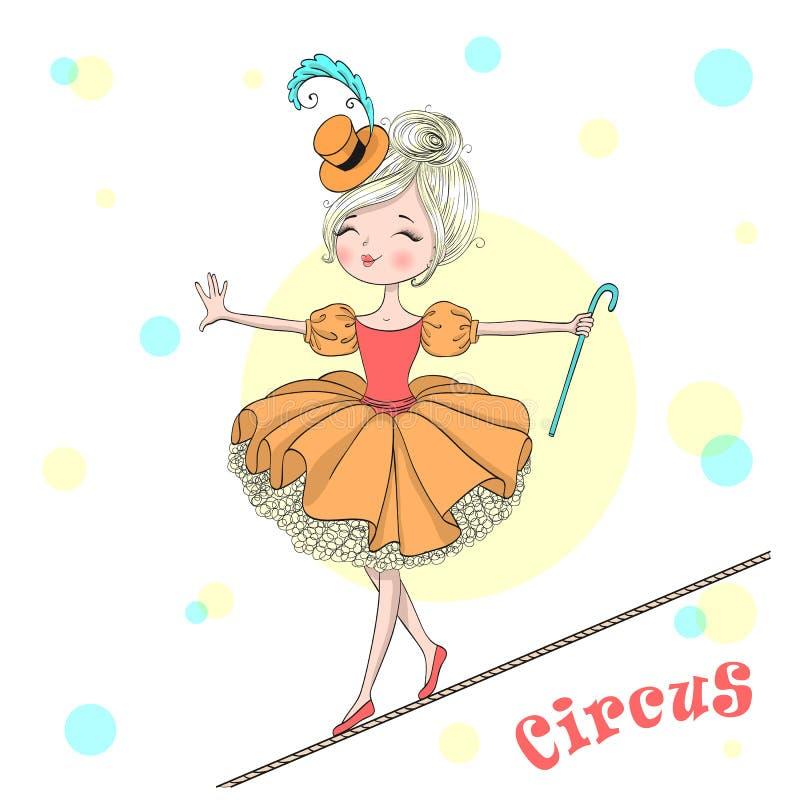 A menina pequena bonito bonita tirada mão do circo equilibra em uma corda-bamba ilustração royalty free