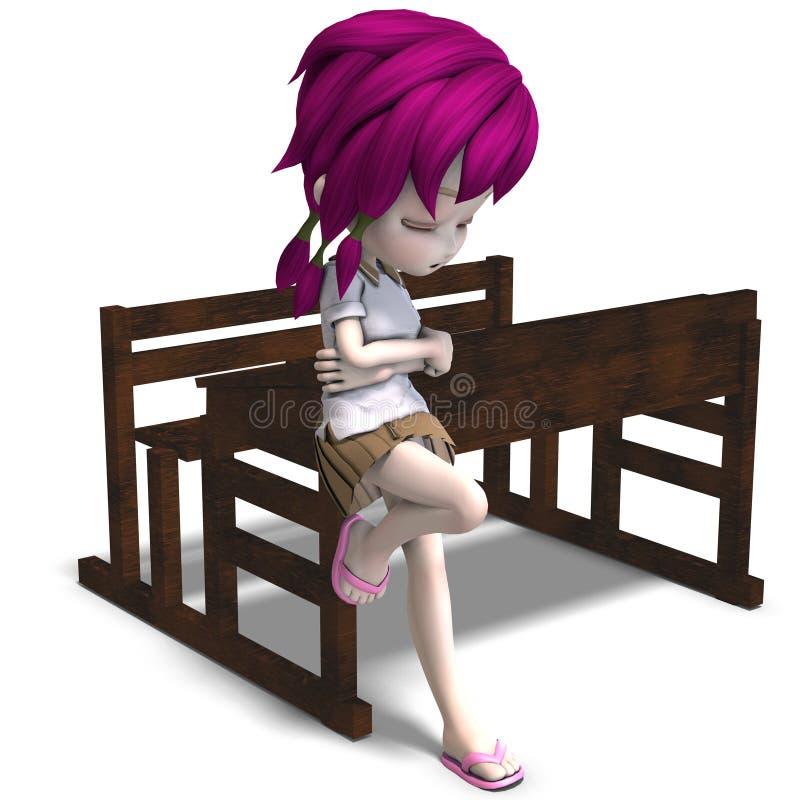 Menina pequena bonito da escola dos desenhos animados que inclina-se em a ilustração stock