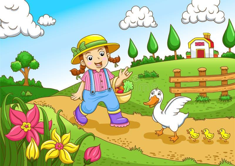 Menina pequena bonito dos fazendeiros ilustração stock