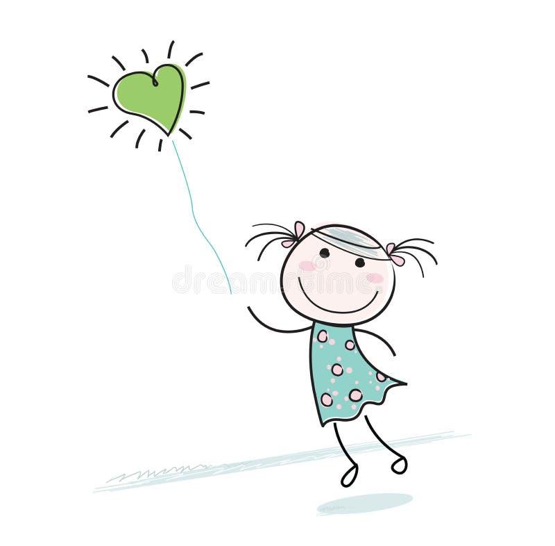 Menina pequena com o balão dado forma coração ilustração do vetor