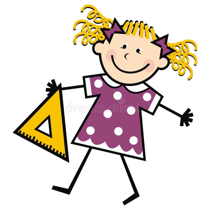 Menina pequena com triângulo, ilustração engraçada do vetor ilustração royalty free