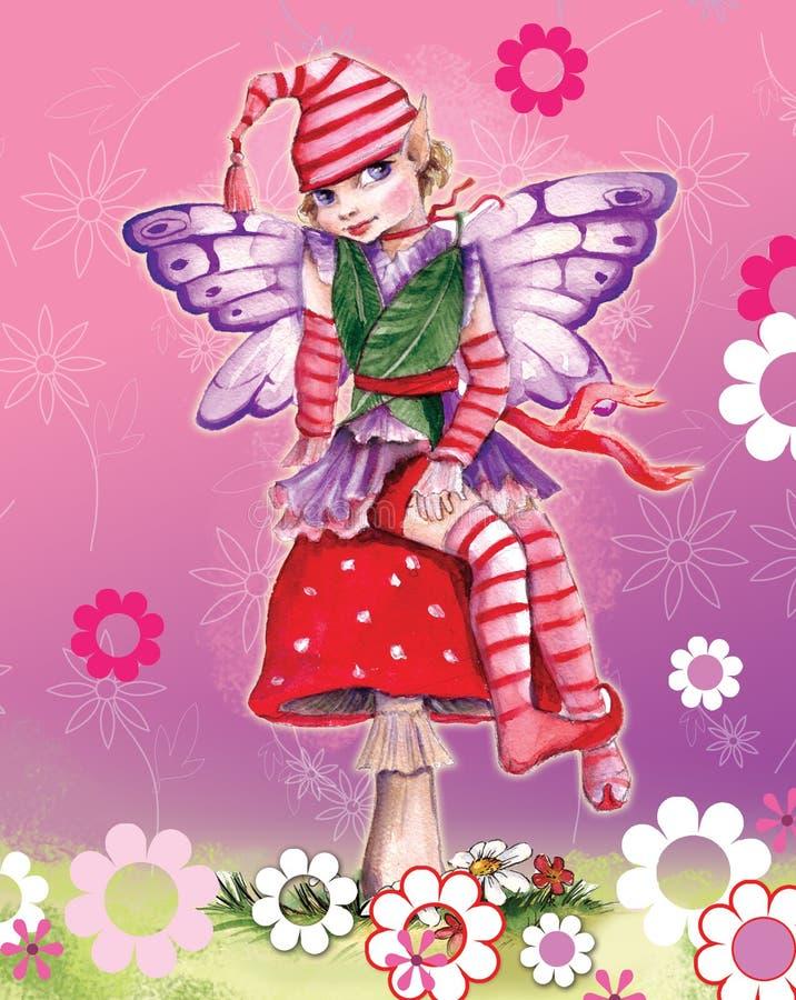 Menina pequena do duende ilustração royalty free