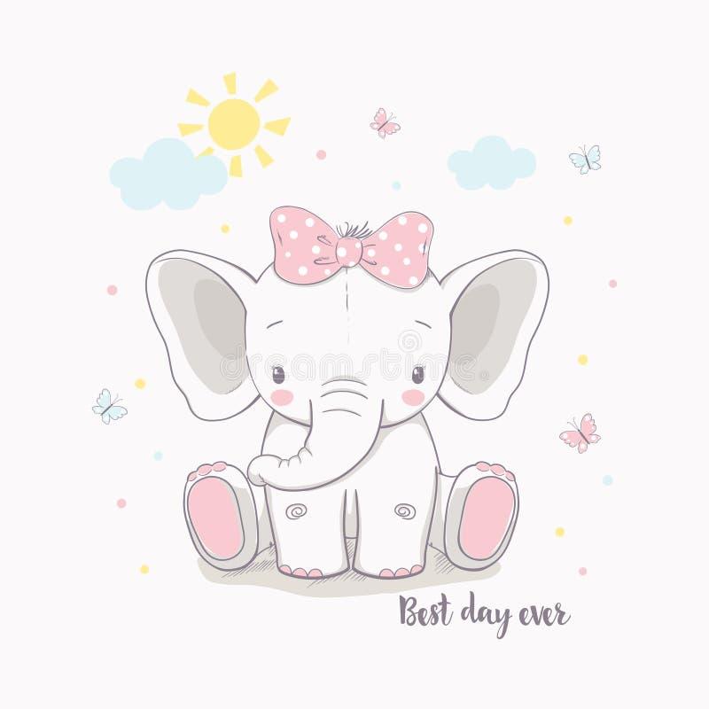 Menina pequena do elefante Ilustração do vetor para crianças foto de stock royalty free
