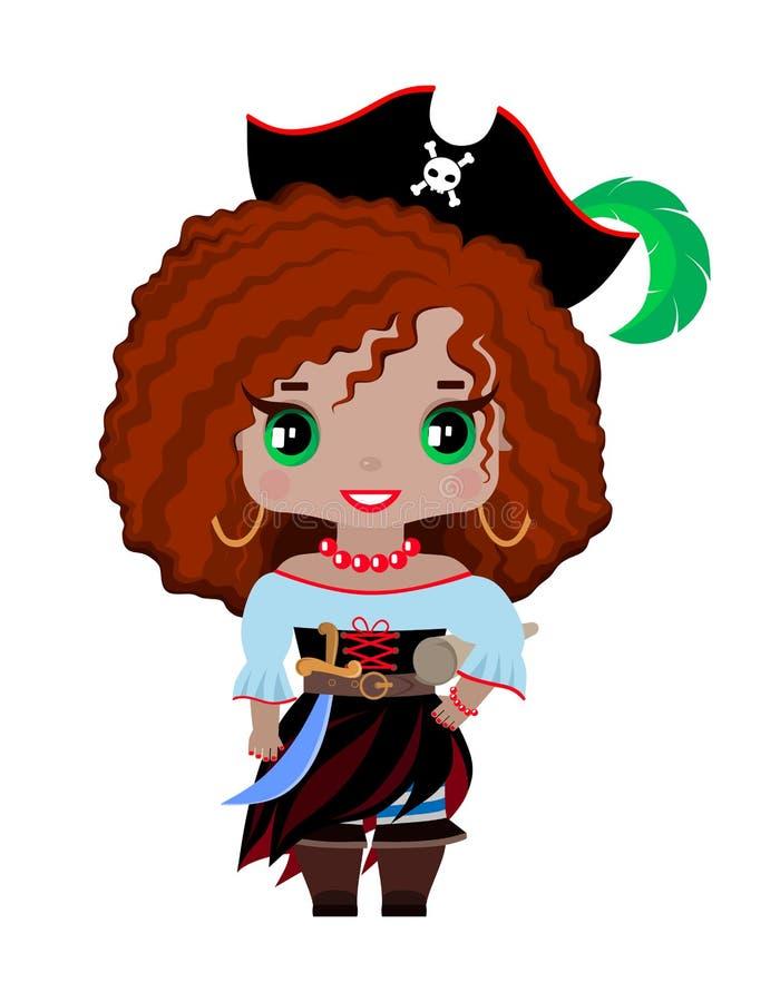 Menina pequena do pirata em um chapéu com uma pena, com cabelo vermelho e os olhos verdes ilustração do vetor